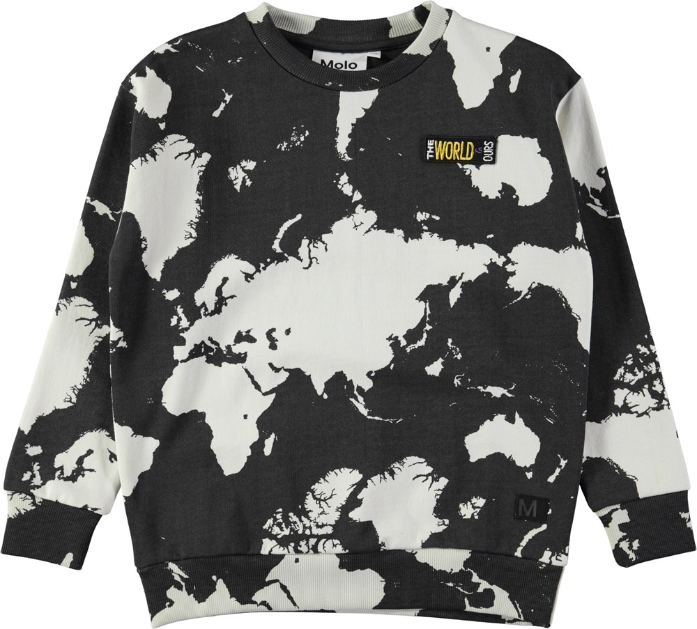 Madsim - World Map Dark - Mørkegrå sweatshirt med world map digitalprint