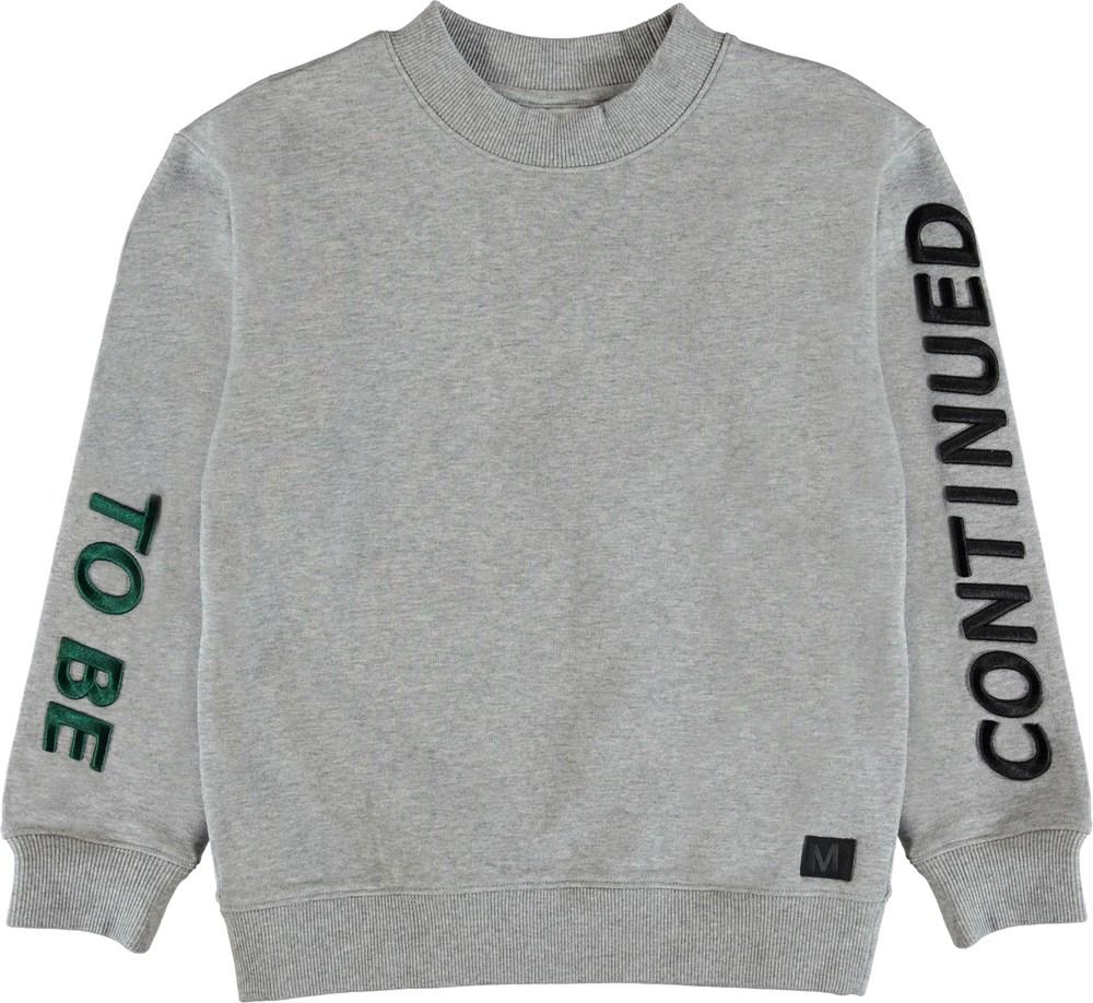 Malvin - Grey Melange - Sweatshirt med broderet skrift.