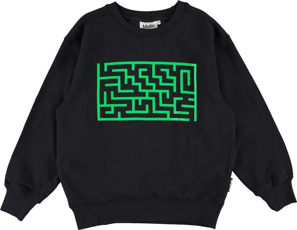 Mann - Black - Labyrint sweatshirt i sort