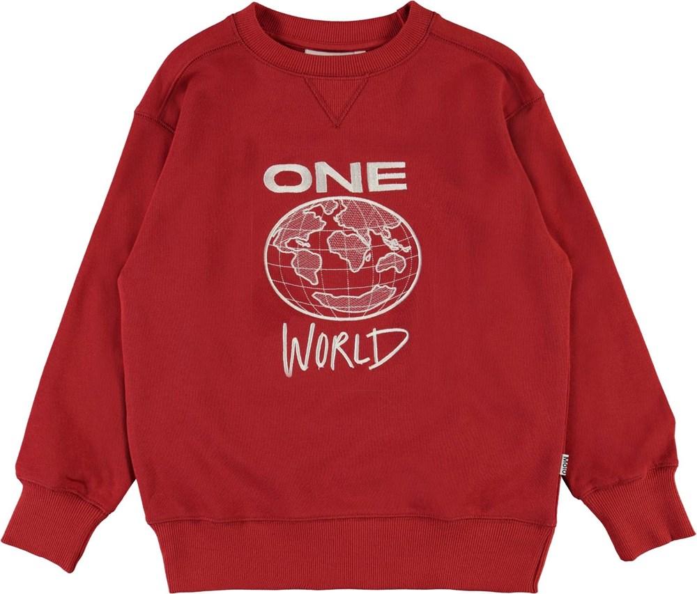 Mann - Bossa Nova - Økologisk rød one world sweatshirt