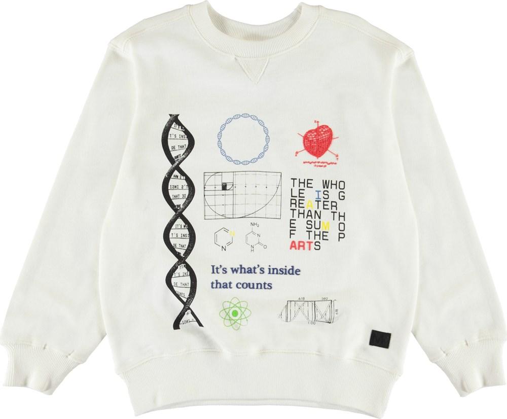 Mann - White Star - Hvid sweatshirt med DNA print