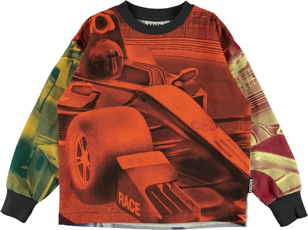 Manu - Colourful Race Car - Økologisk sweatshirt med racerbil