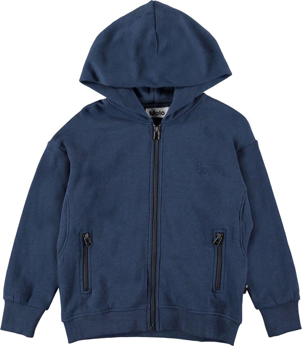 Mash - Infinity - Blå hættetrøje med lynlås.