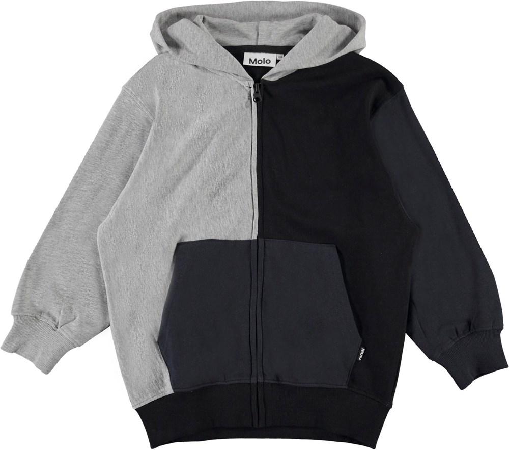 Me - Grey Melange - Sort, grå og blå hættetrøje med lynlås