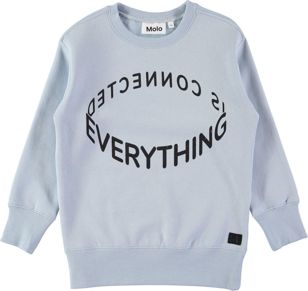 Mentor - Ice Blue - Lyseblå sweatshirt med digitalprintet tekst