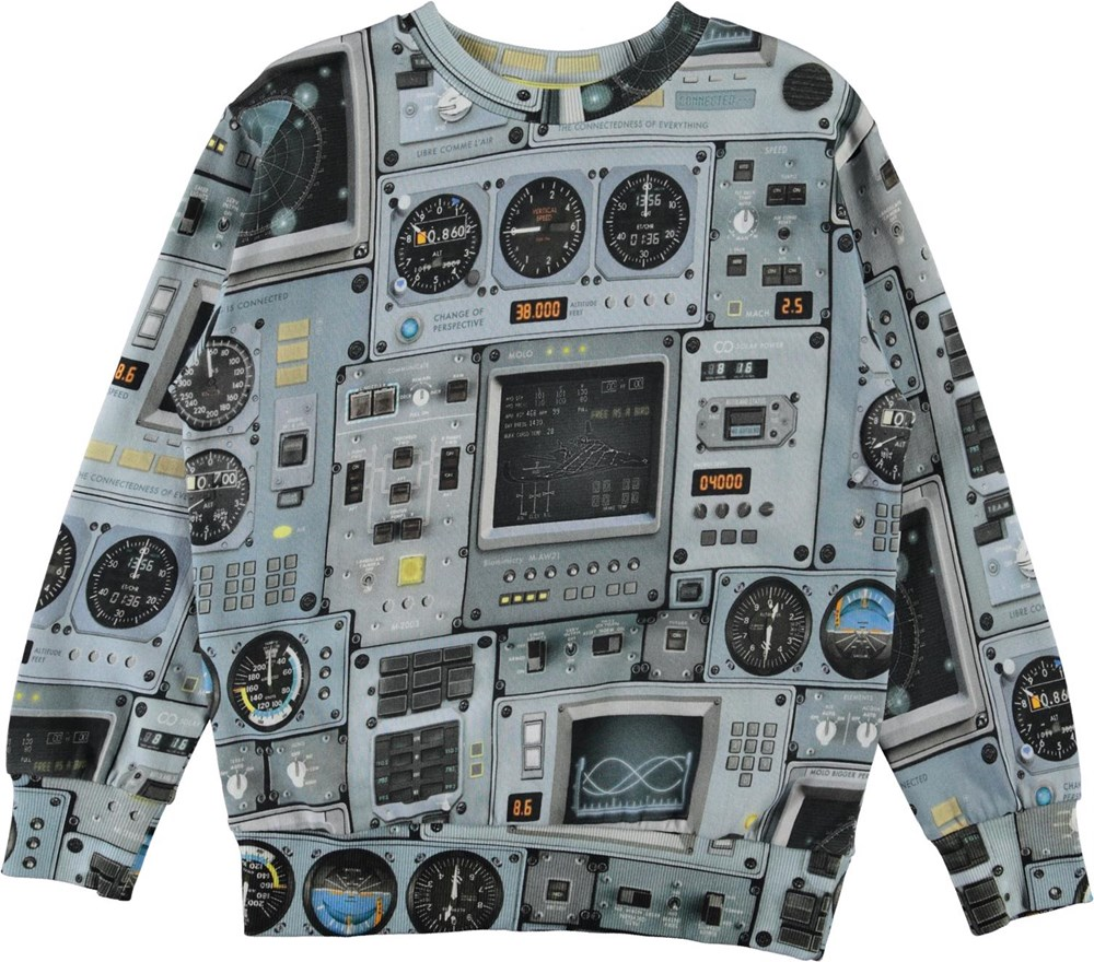 Mik - Cockpit - Økologisk lyseblå sweatshirt med cockpit print