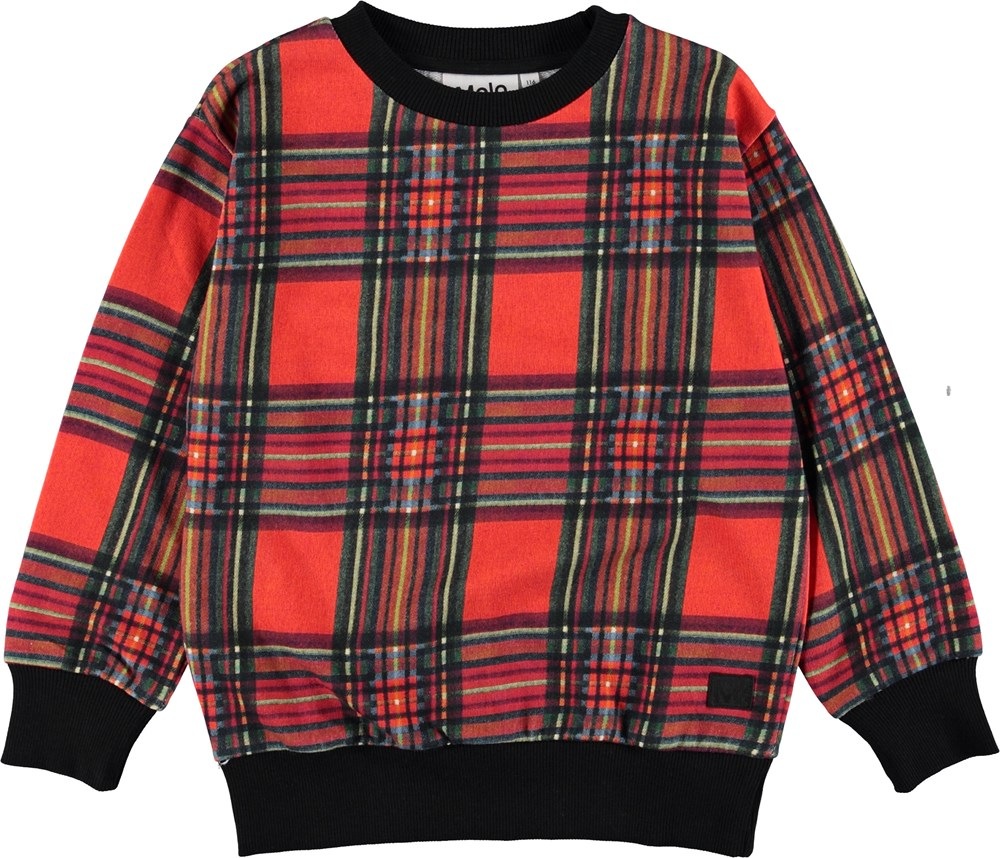Mik - Red Check - Rød ternet sweatshirt.