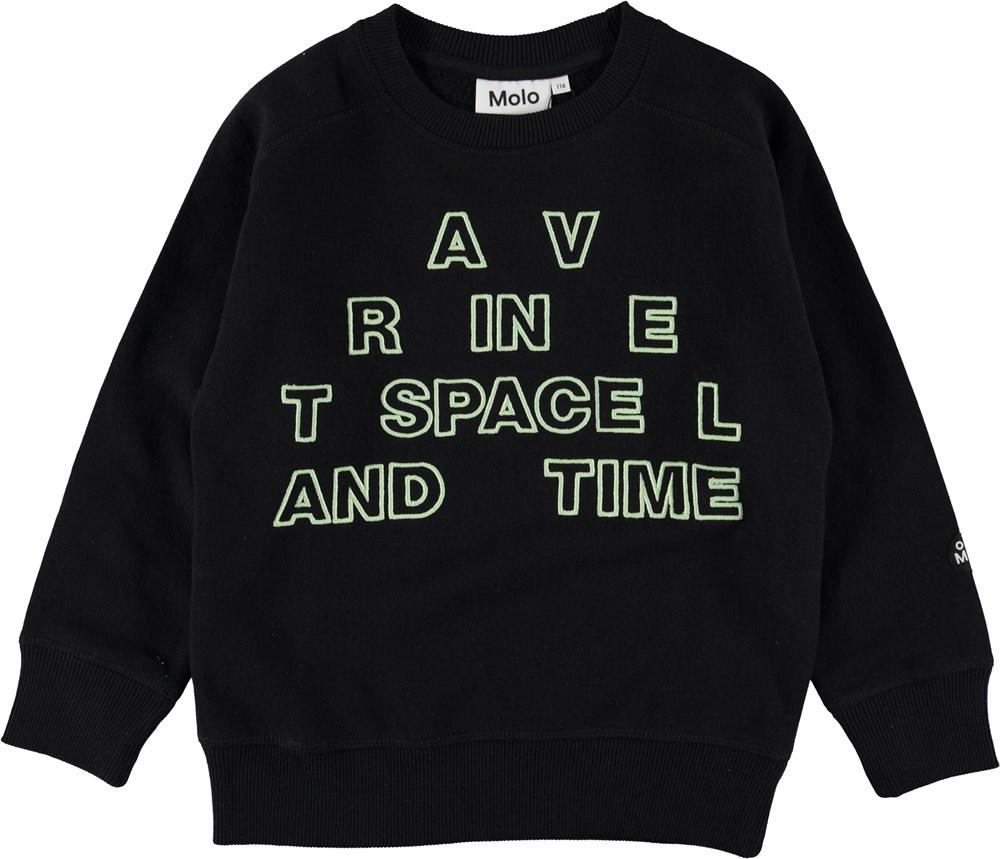 Mike - Black - Sweatshirt med selvlysende bogstaver.