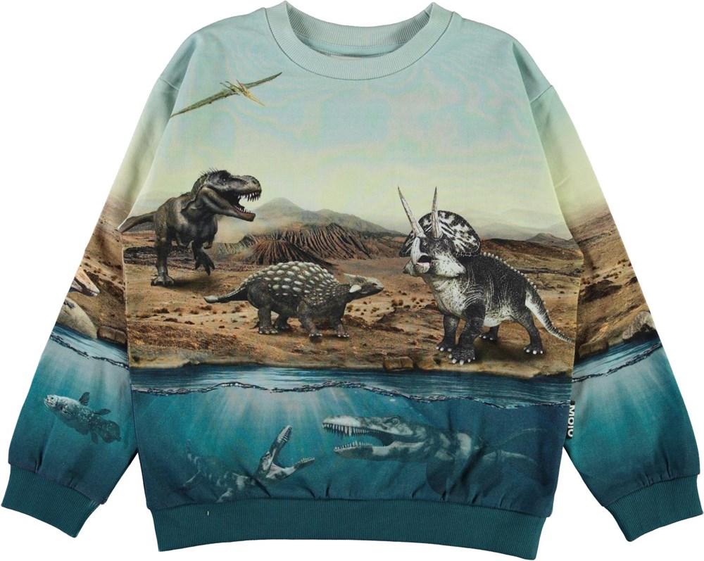 Miksi - Dino World - Økologisk lyseblå dinosaur sweatshirt