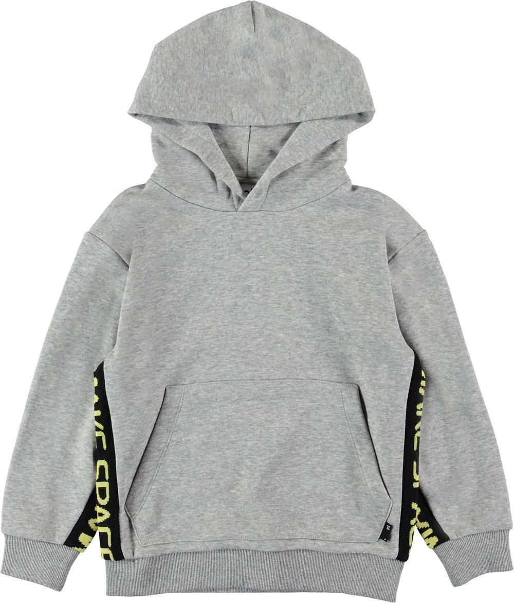 Milion - Grey Melange - Grå hættetrøje med tekst.