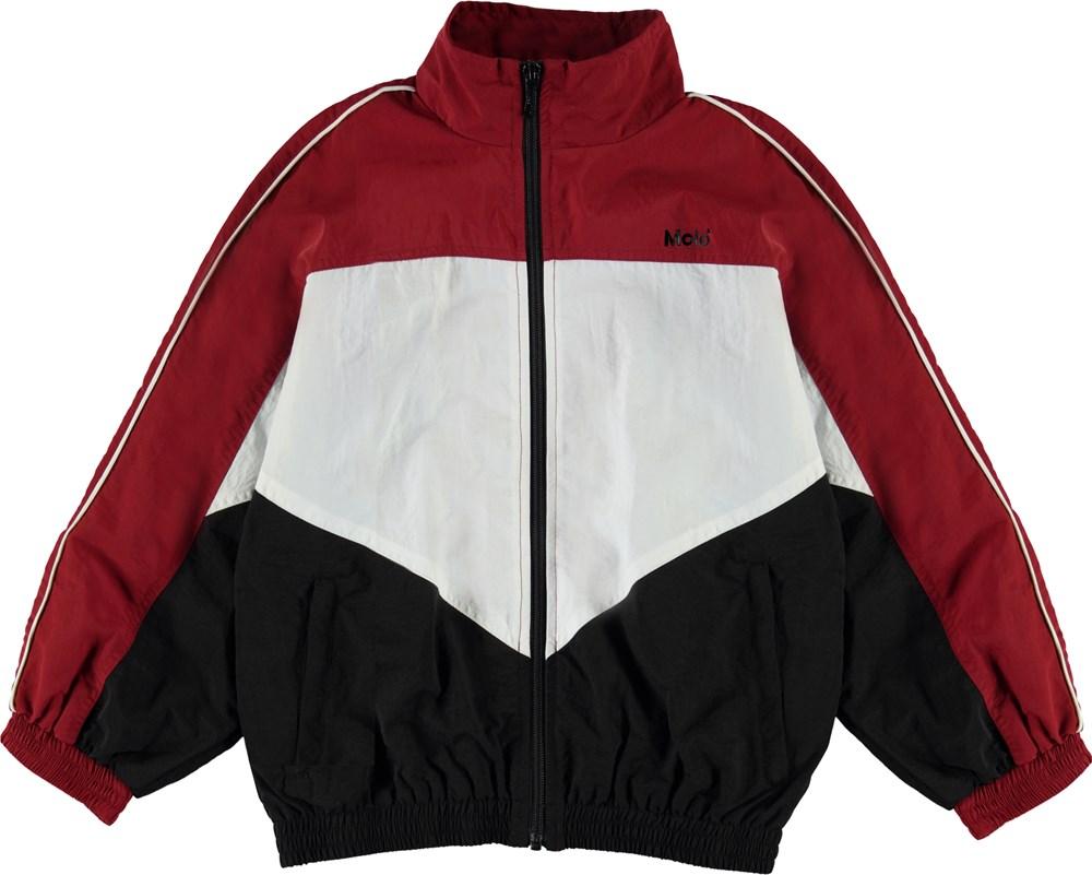 Millum - Dark Red - Rød, sort og hvid track jakke