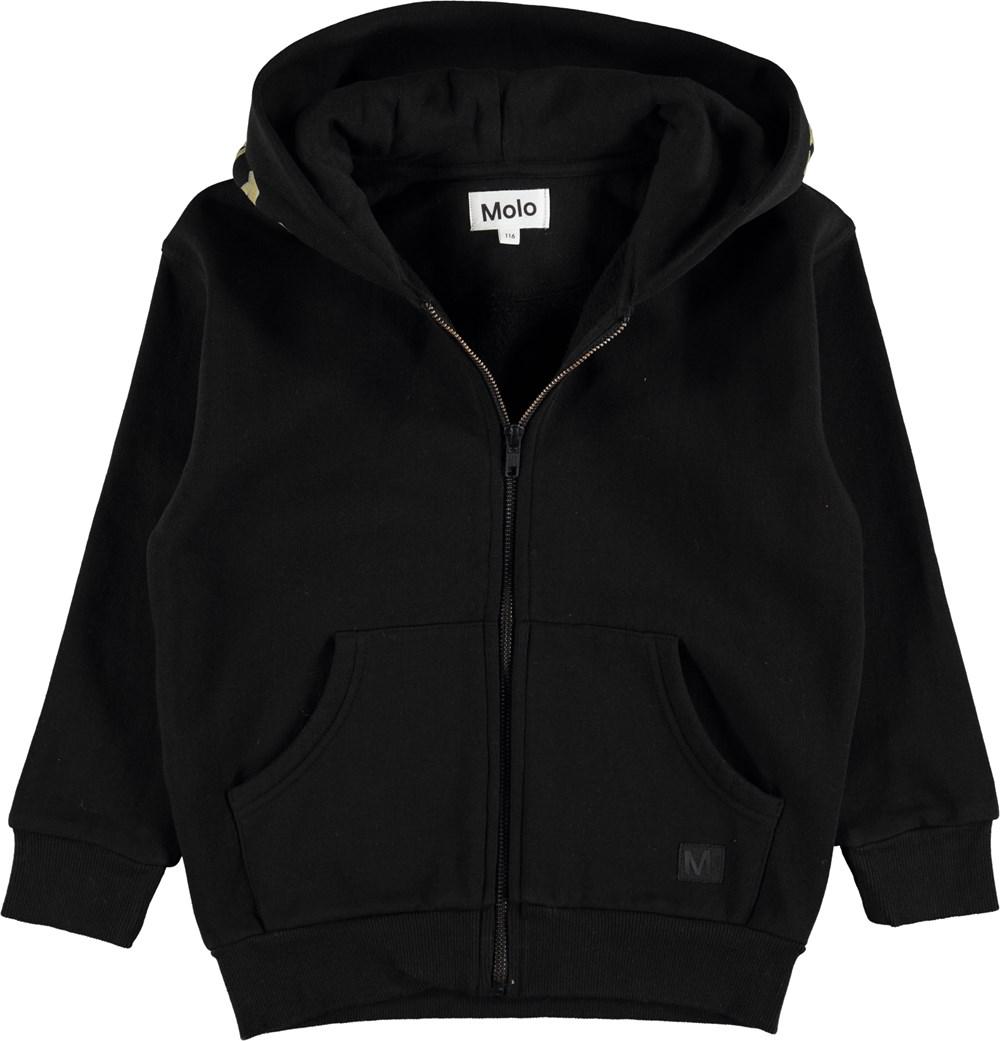 Mirkko - Black - Sort hoodie med lynlås, lommer og print på hætte