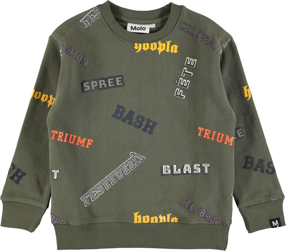 Mogens - Crocodile - Grøn sweatshirt med grafisk tekst