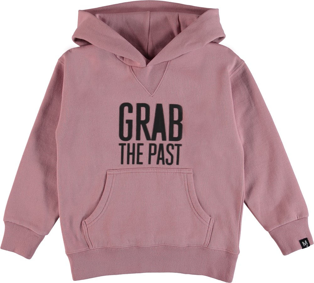 Monez - Pink Granite - Rosa sweatshirt med gummi trykt skrift.