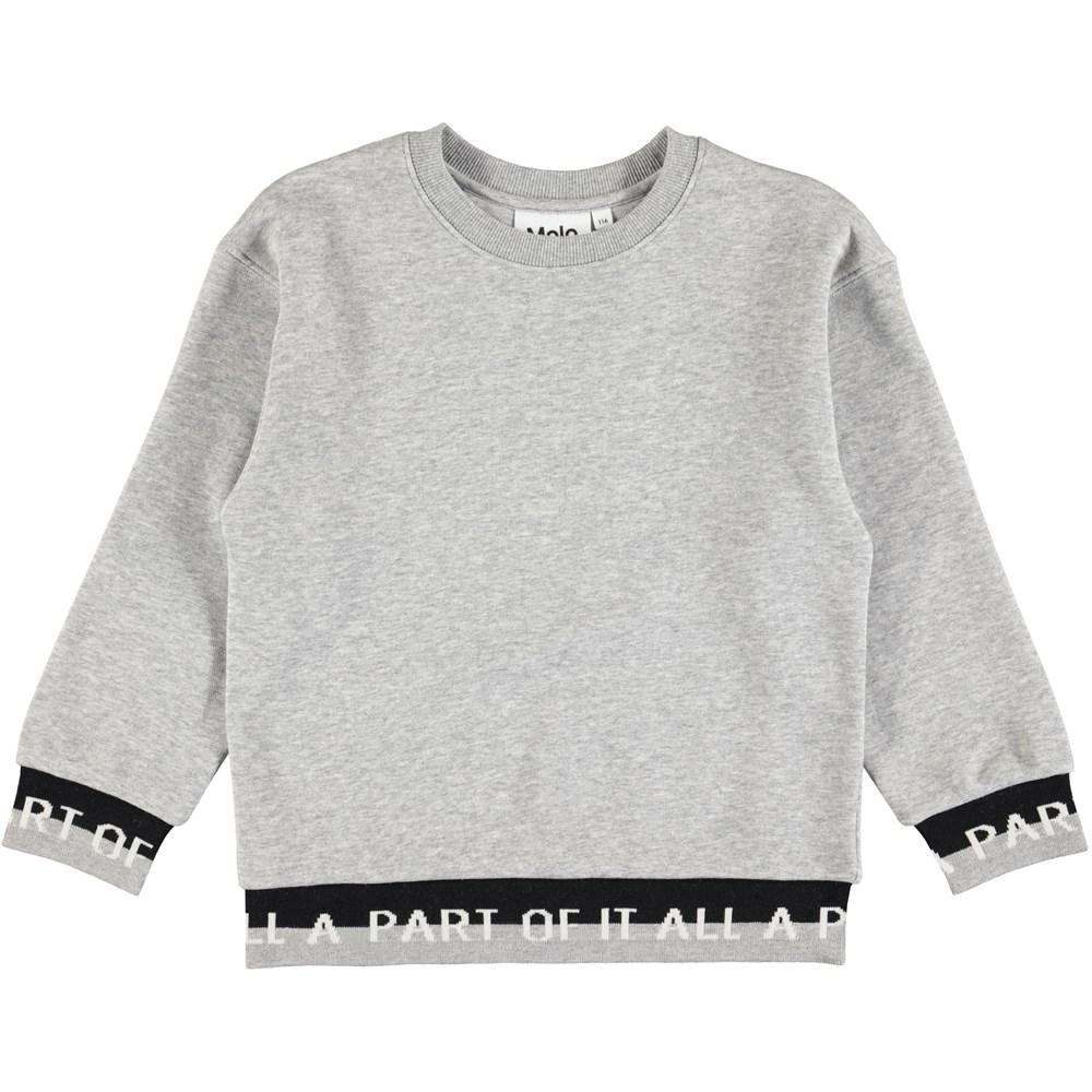 Morrissey - Grey Melange - Grå sweatshirt med mønstrede ribkanter