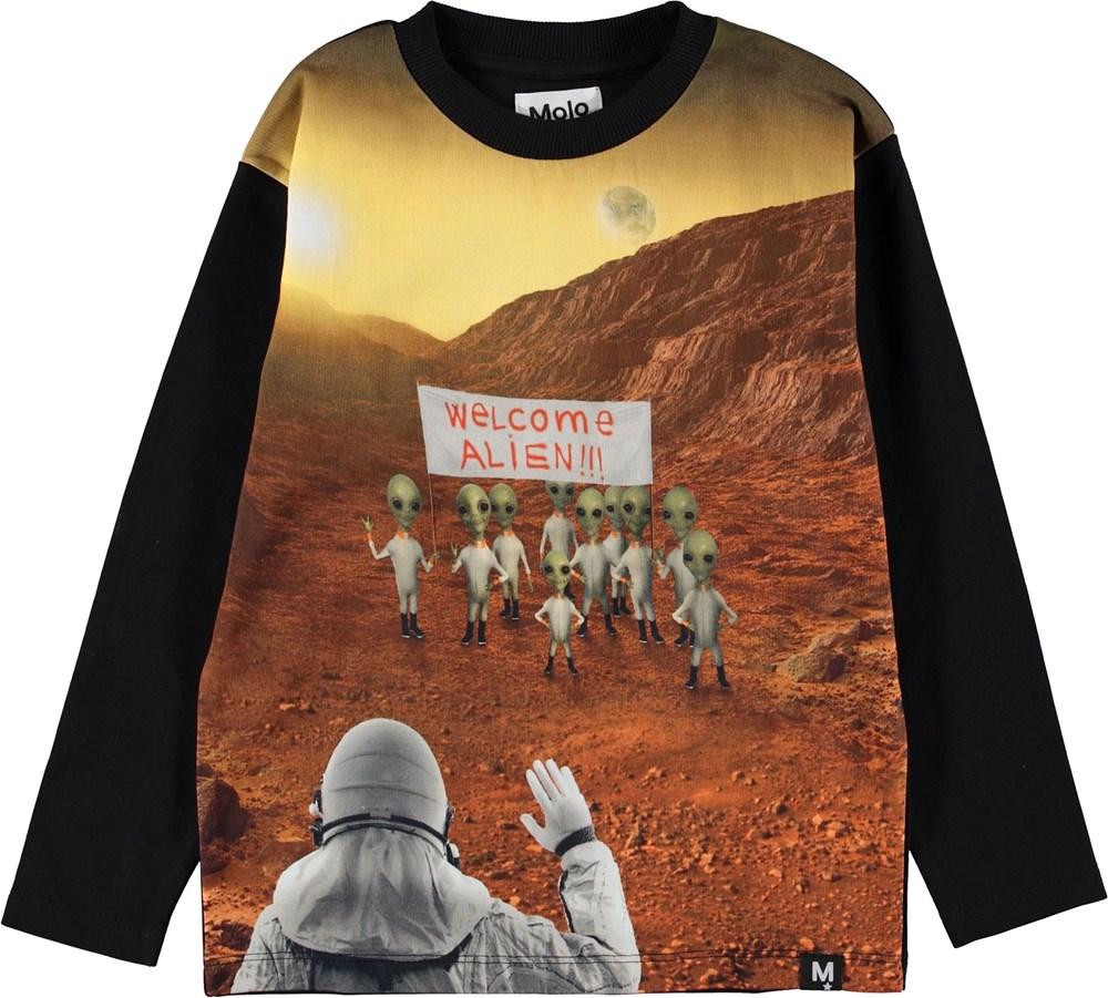 Mountoo - Mars Scenery - Sort bluse med aliens.