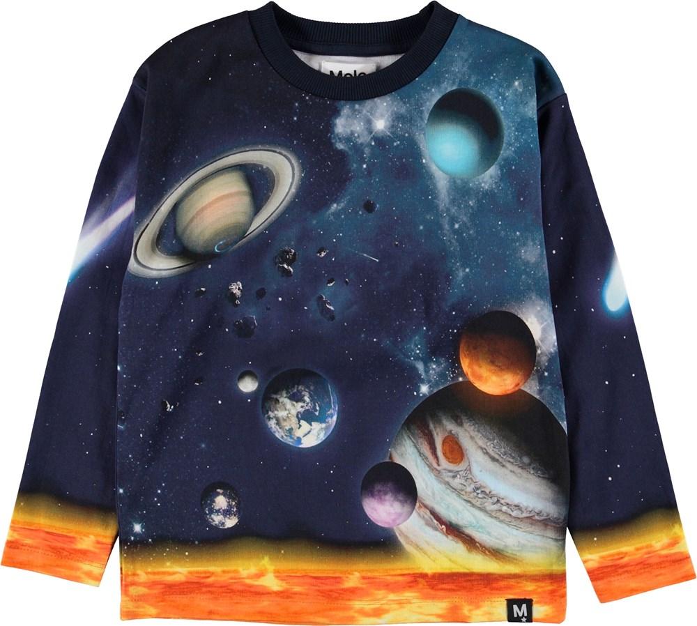 Mountoo - The Solar System - Blå bluse med solsystemet.