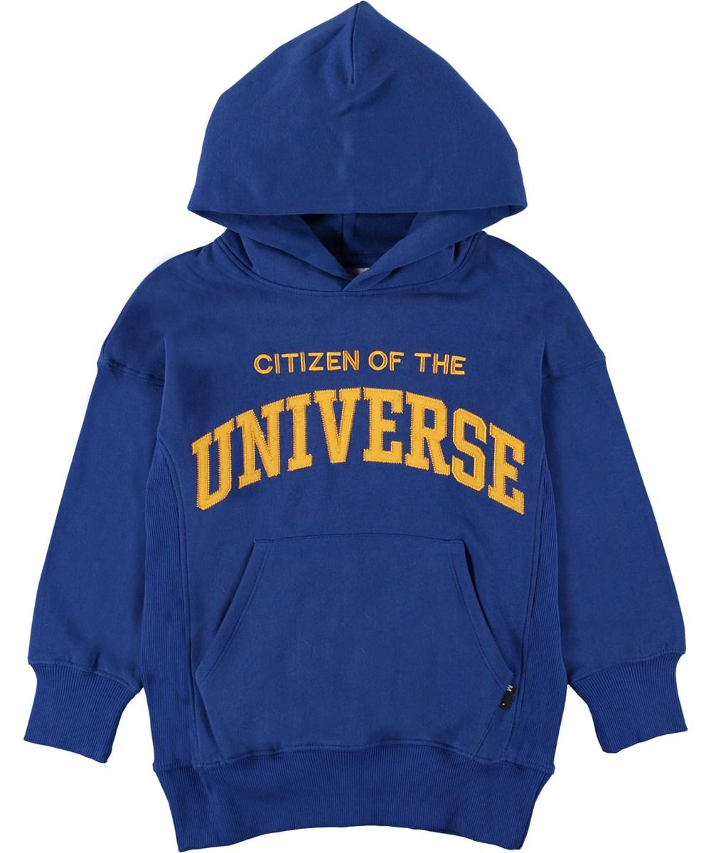 Moz - True Blue - Blå hættetrøje med gul tekst.