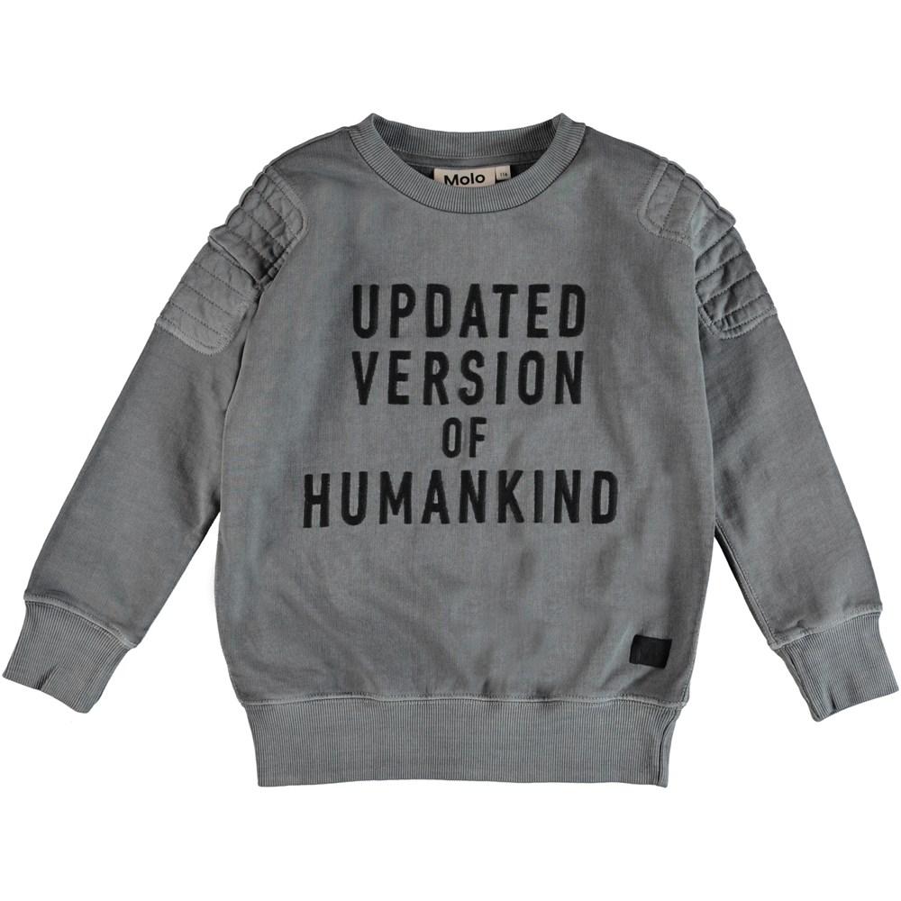 Mozi - Pewter - Grå sweatshirt med broderet skrift.