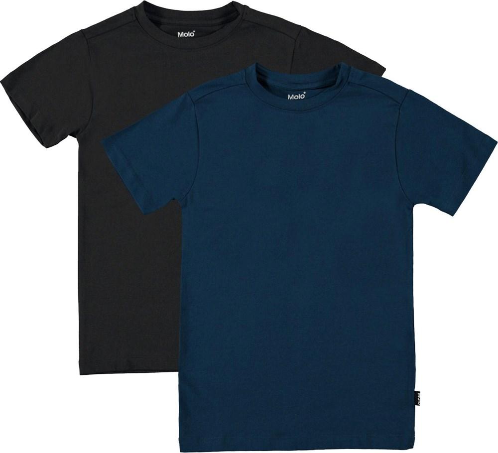 Jamie 2-Pack - Black Sea - Økologisk 2 pack undertrøje i sort og blå