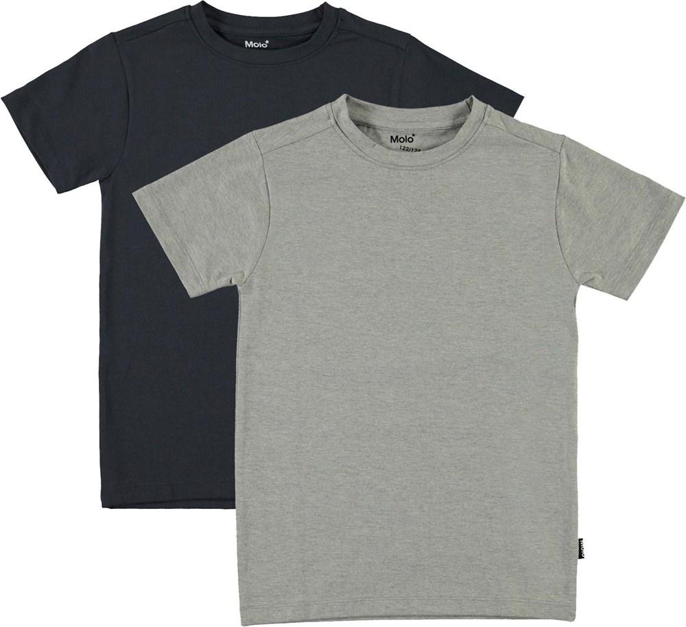 Jamie 2-Pack - Navy Grey - Økologisk 2 pack undertrøje i grå og blå