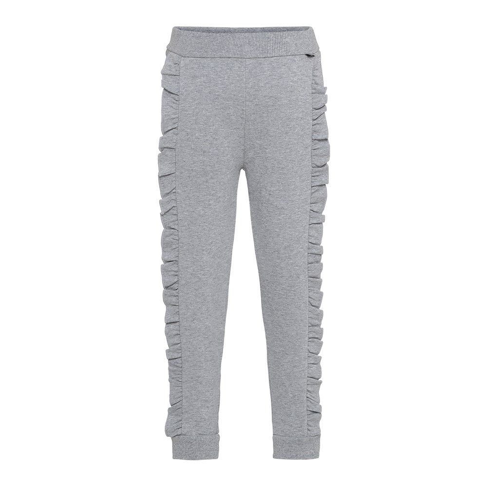 Aline - Grey Melange - Grå byxor med volangkant.