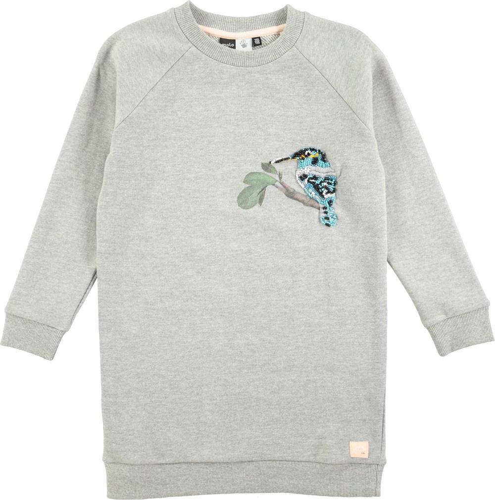 Cam - Grey Melange - långärmad grå sweatklänning - Molo 7f068a905358a