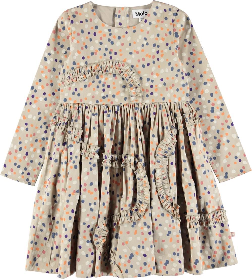Candice - Confetti - Beigefärgad poplin klänning med prickar och volanger