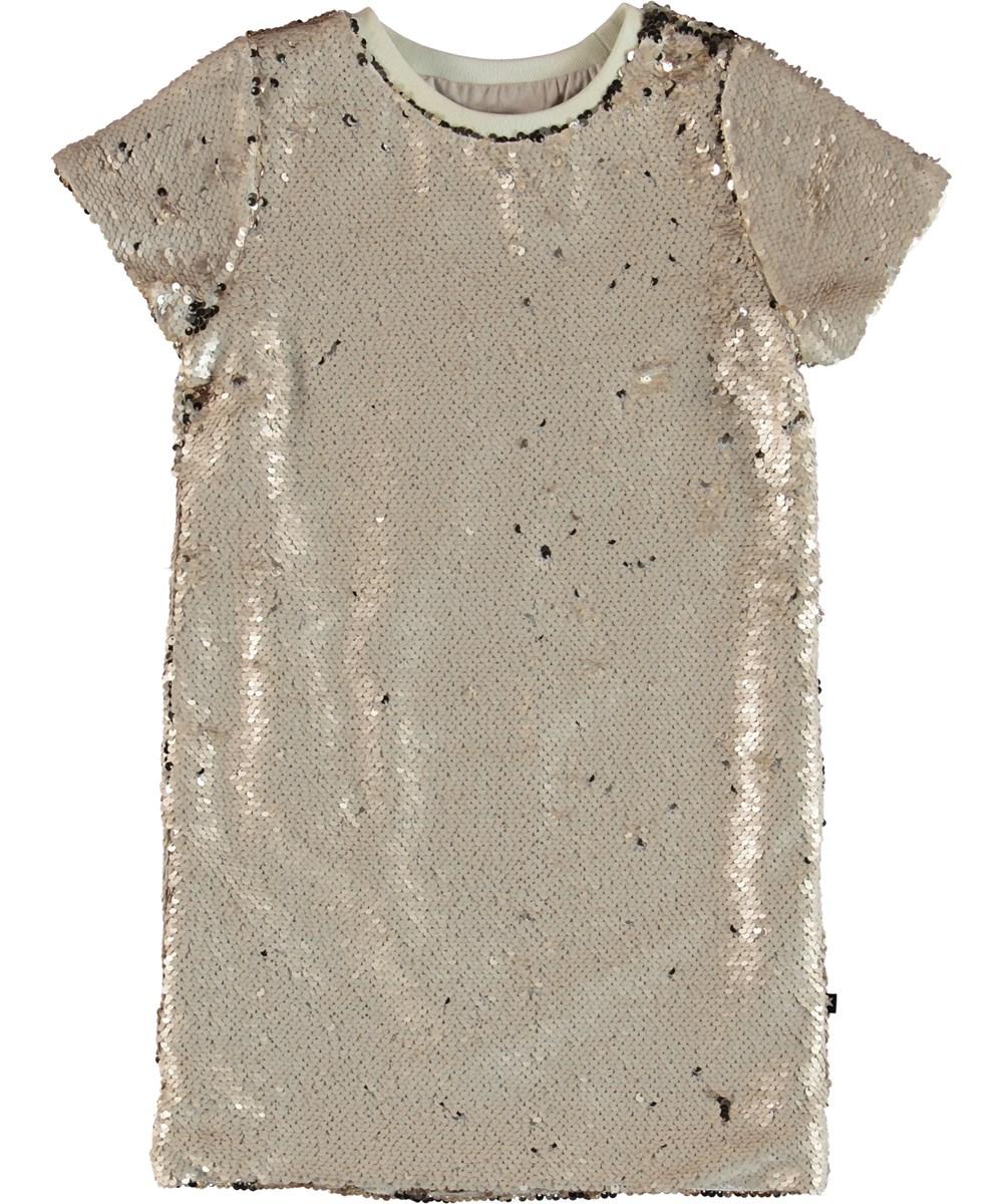 Carol - Dirty White - Guld paljett klänning.