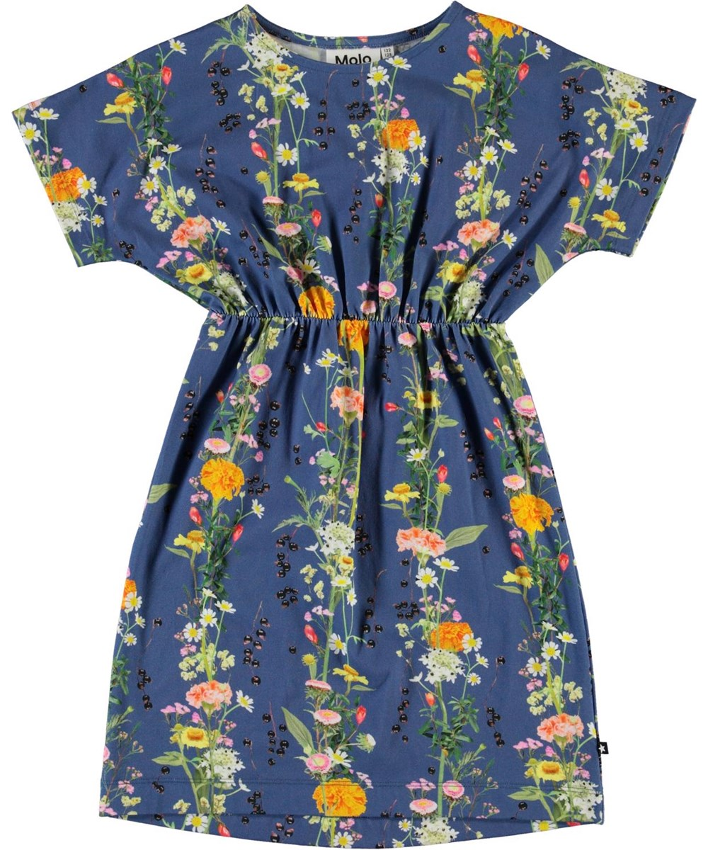 Christa - Vertical Flowers - Ekologisk blå blommig klänning