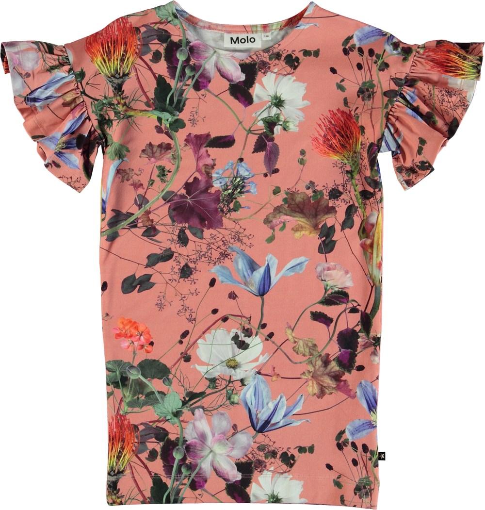 Coralie - Flowers Of The World - Blommig klänning med volangärmar.