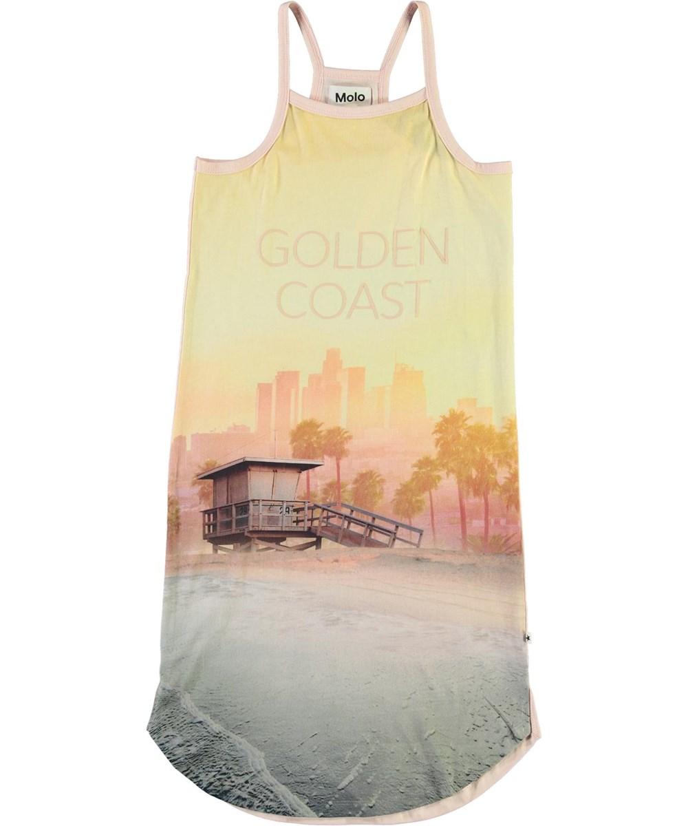 Cortney - Golden Coast - Ekologisk strandklänning med surfbrädor