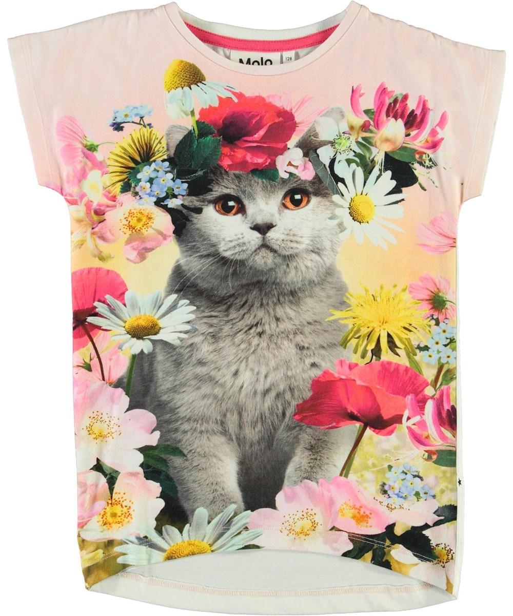 Ragnhilde - Flower Cat - Ekologisk t-shirt med en katt och blommor