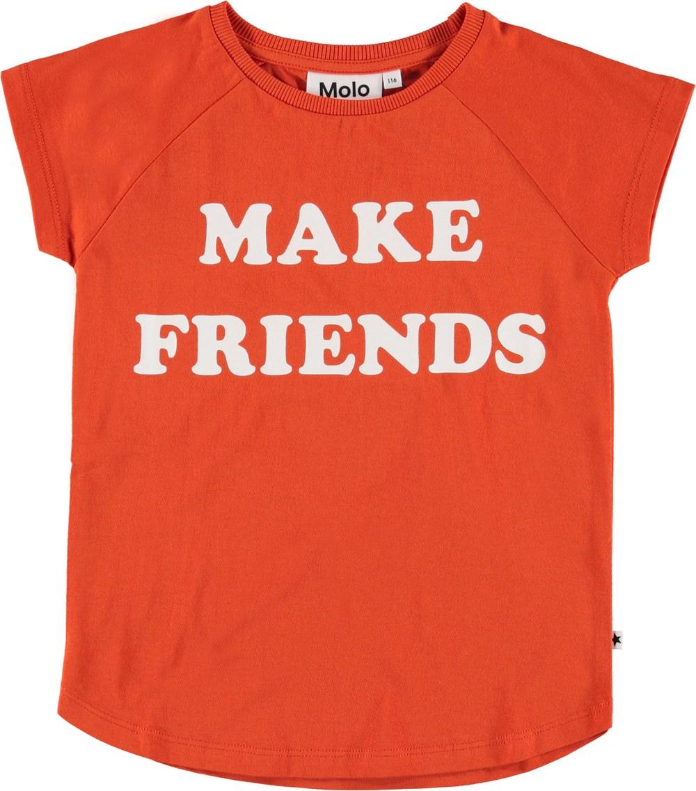 Reinette - Cherry Tomato - Röd t-shirt med make friends.