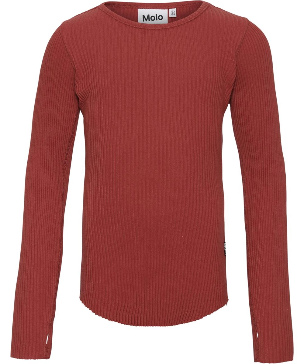 Rochelle - Bossa Nova - Ekologisk ribbad tröja i röd