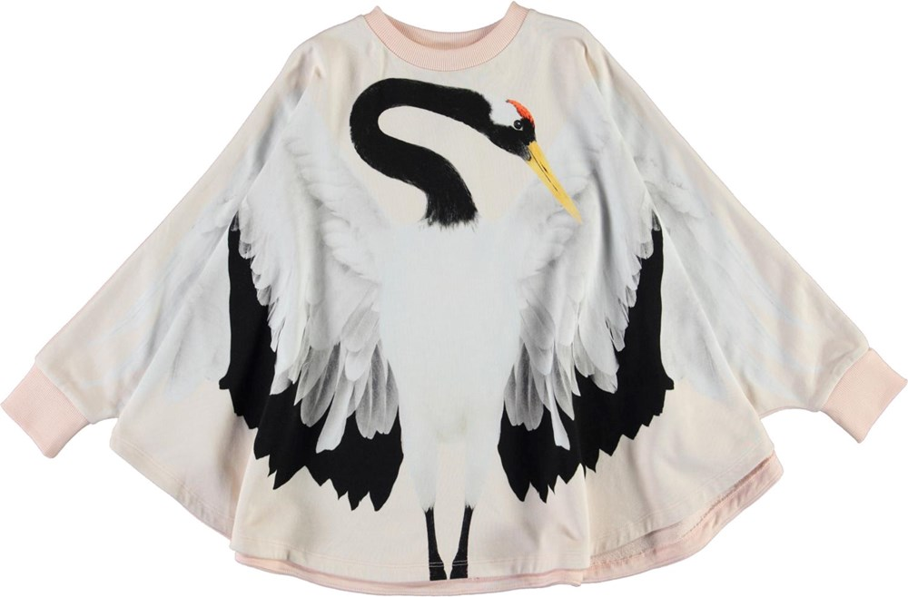 Marcella - Crane Wings - Ekologisk poncho med trana