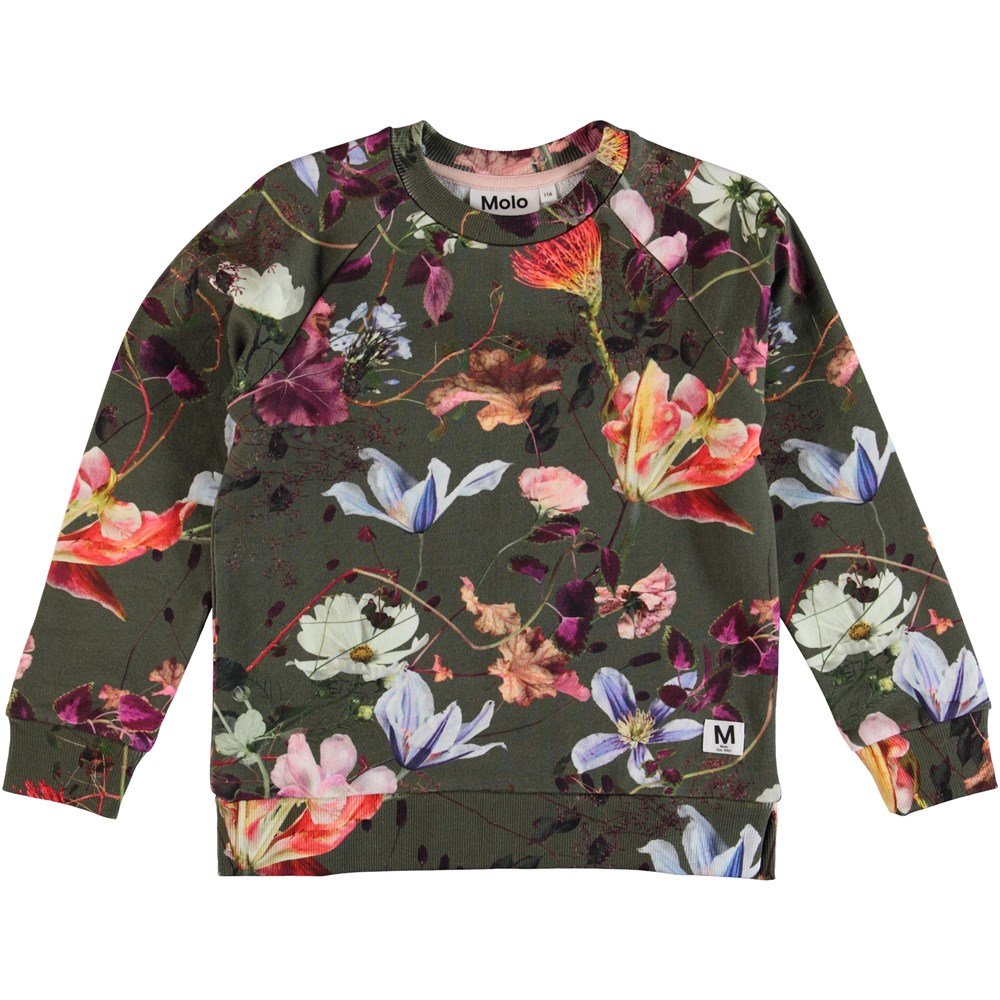 Marina - Evergreen Flowers - Blommig sweatshirt.