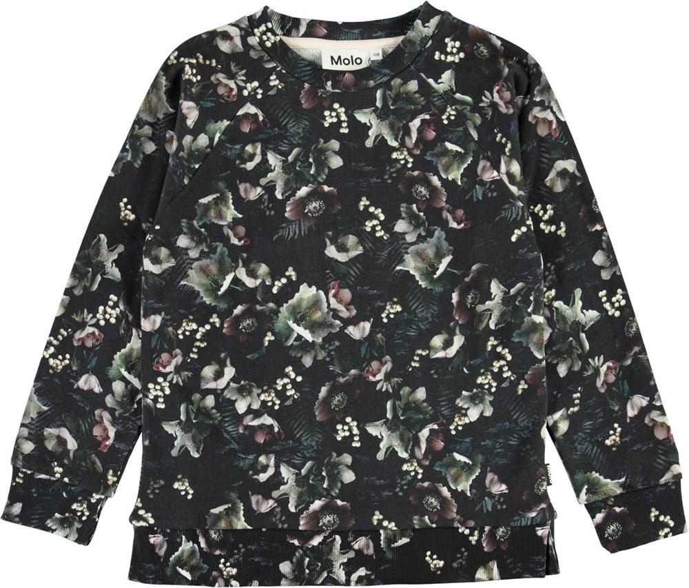Marina - Moonlight Garden - Ekologisk sweatshirt med blommor
