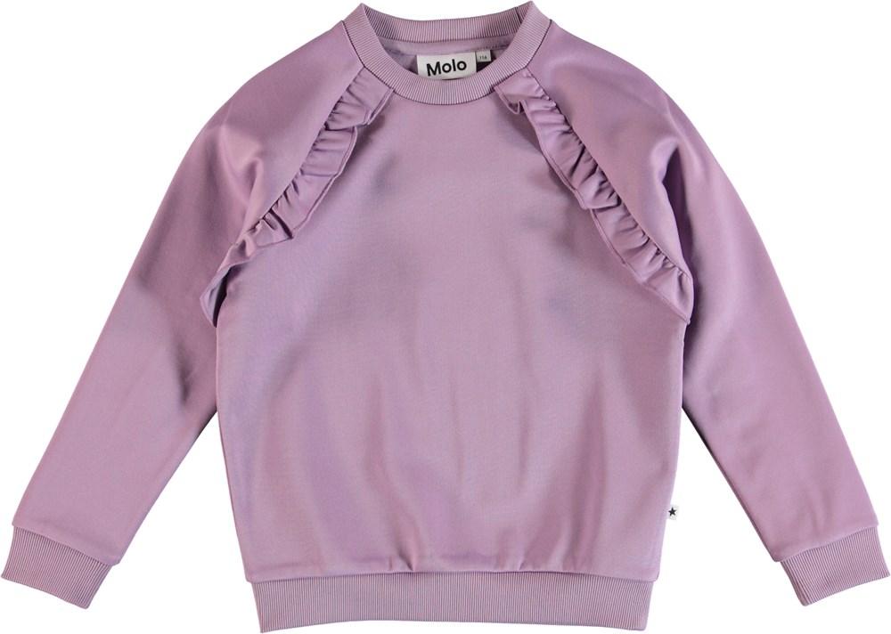 Michaela - Alpine Flower - Lila sweatshirt med volangkant.