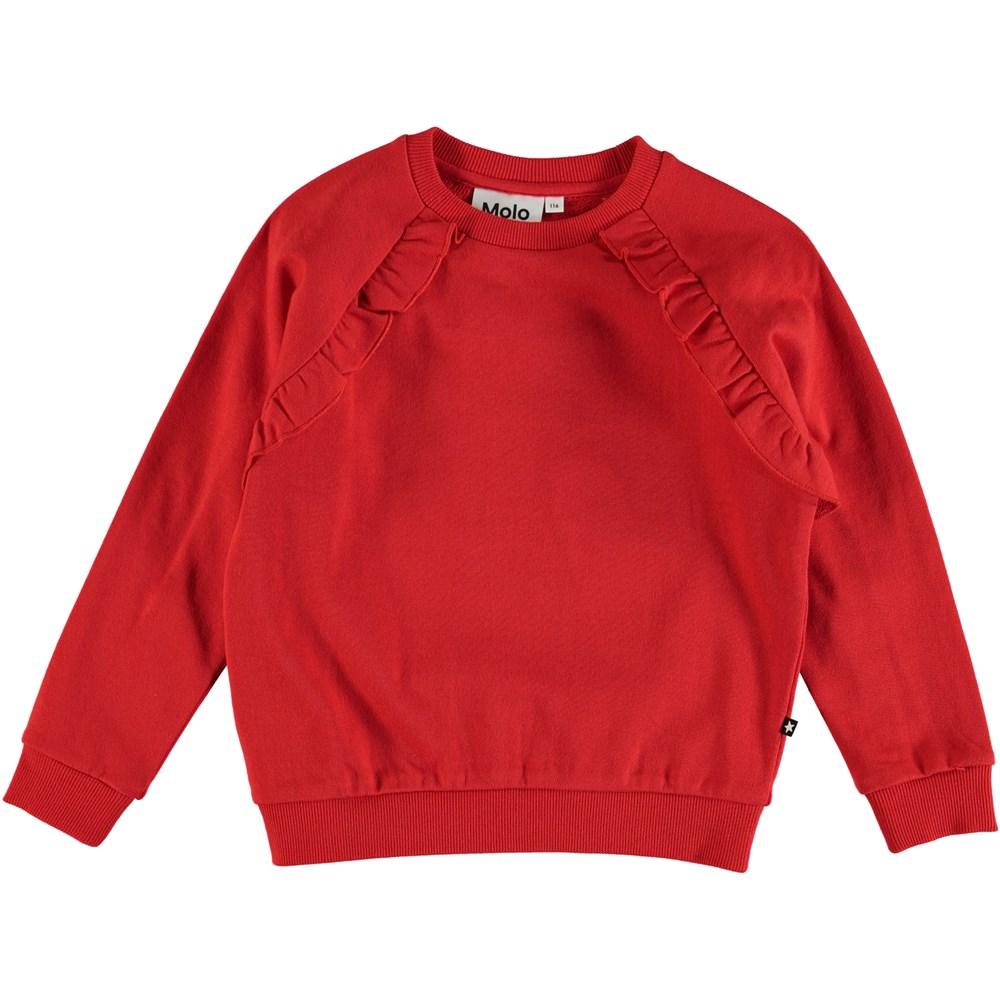 Michaela - Chili - Röd sweatshirt med volangkant.