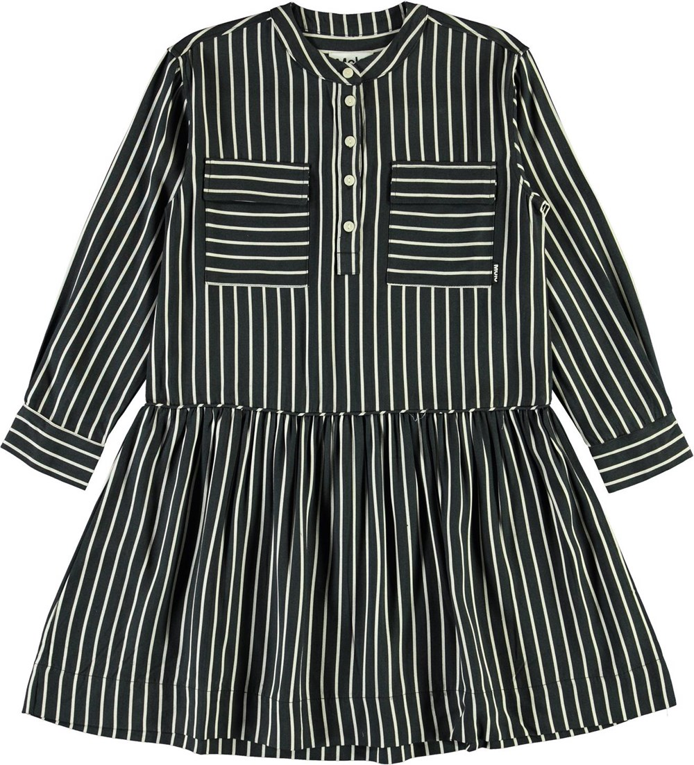 Cacao - Vertical BW Stripe - Blue and white striped shirt dress