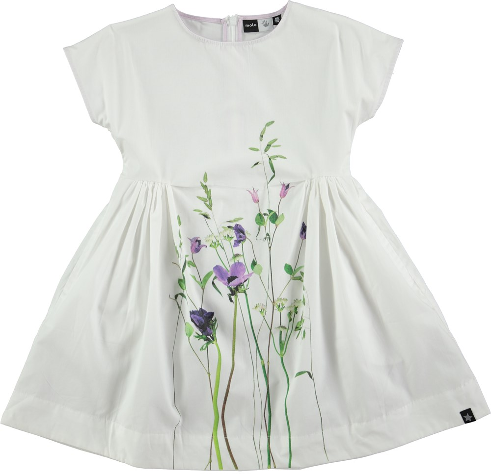 Cady Summer Flowers White Baby Doll Dress With Flower Print Molo