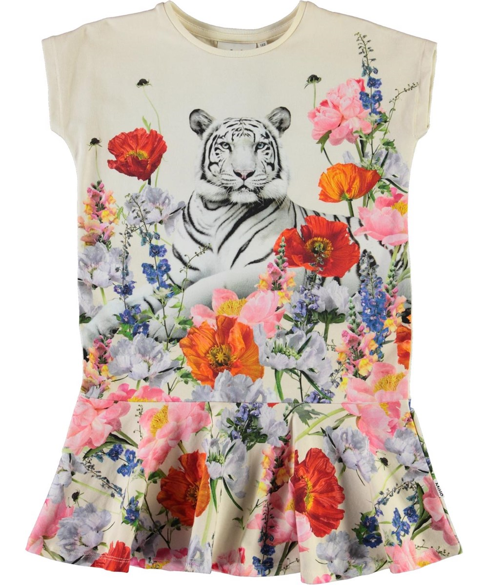 Caeley - Meadow Tiger - Organic dress with tiger and flowers
