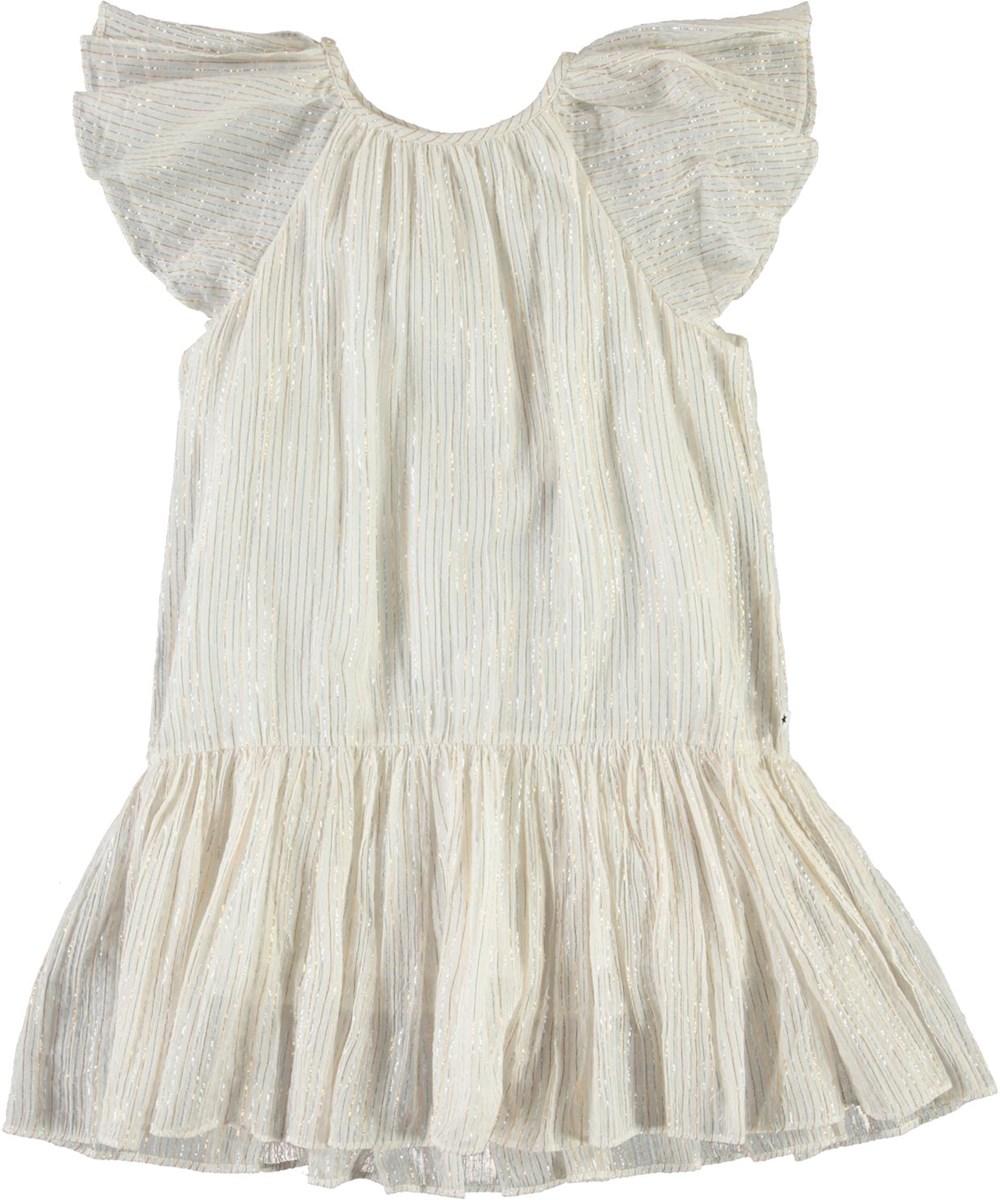Calee - Metalic Stripe - White dress with metallic stripes
