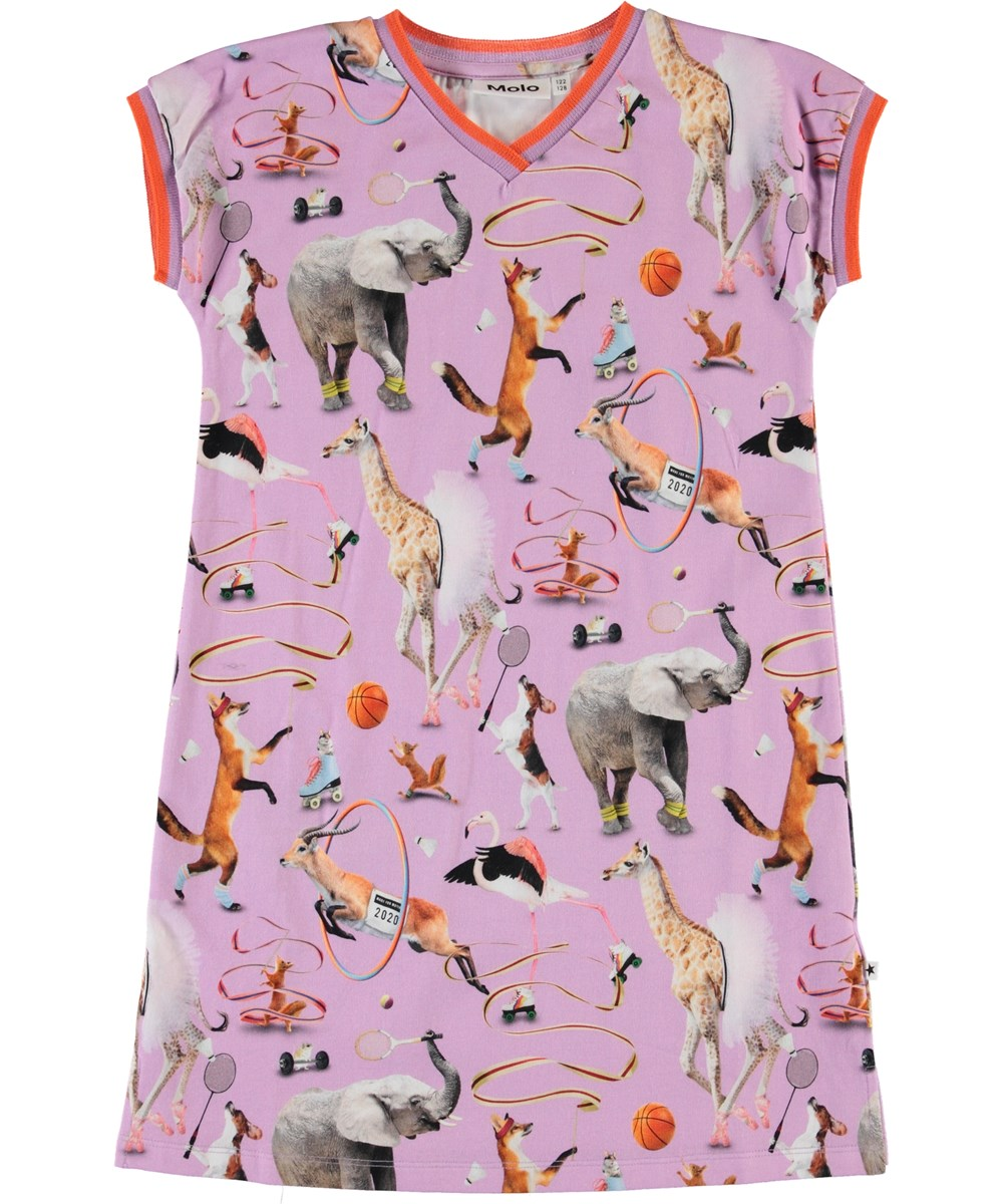 California - Made For Motion - Purple organic dress with animals