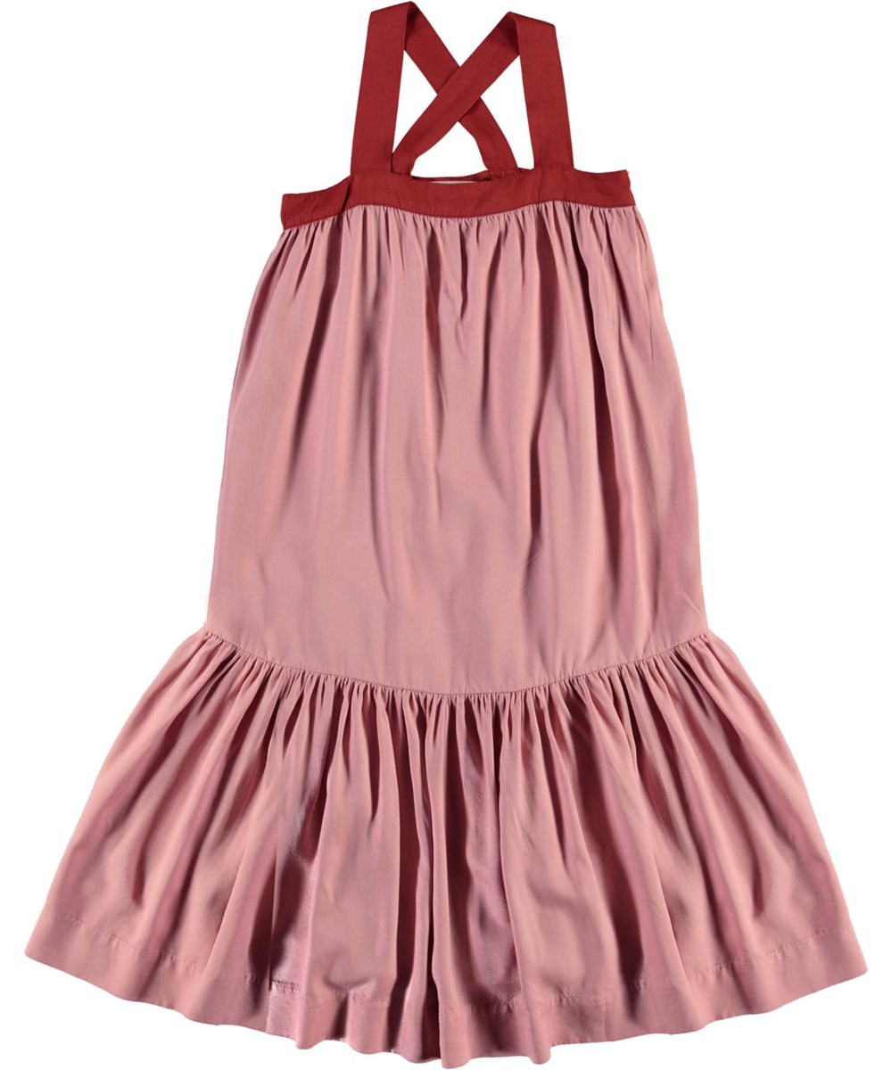 Calipsa - Rosequartz - Rose dress with red stripes