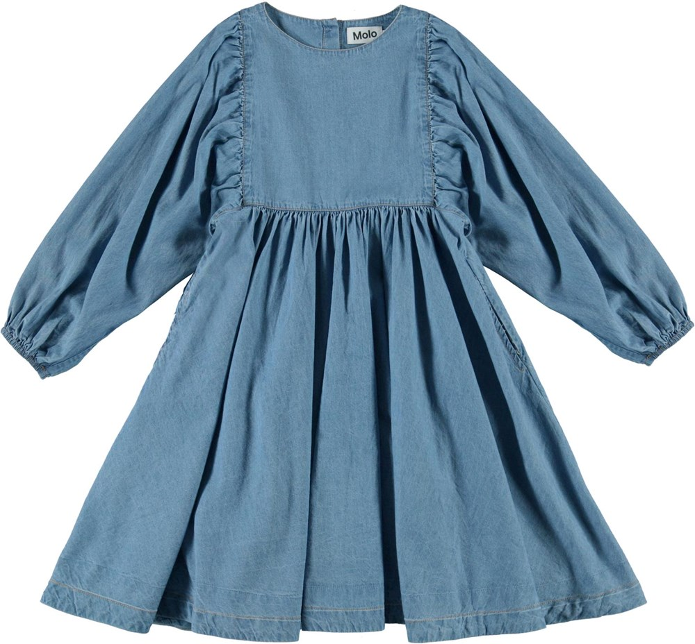 Caly - Washed Blue - Blue denim dress with large sleeves