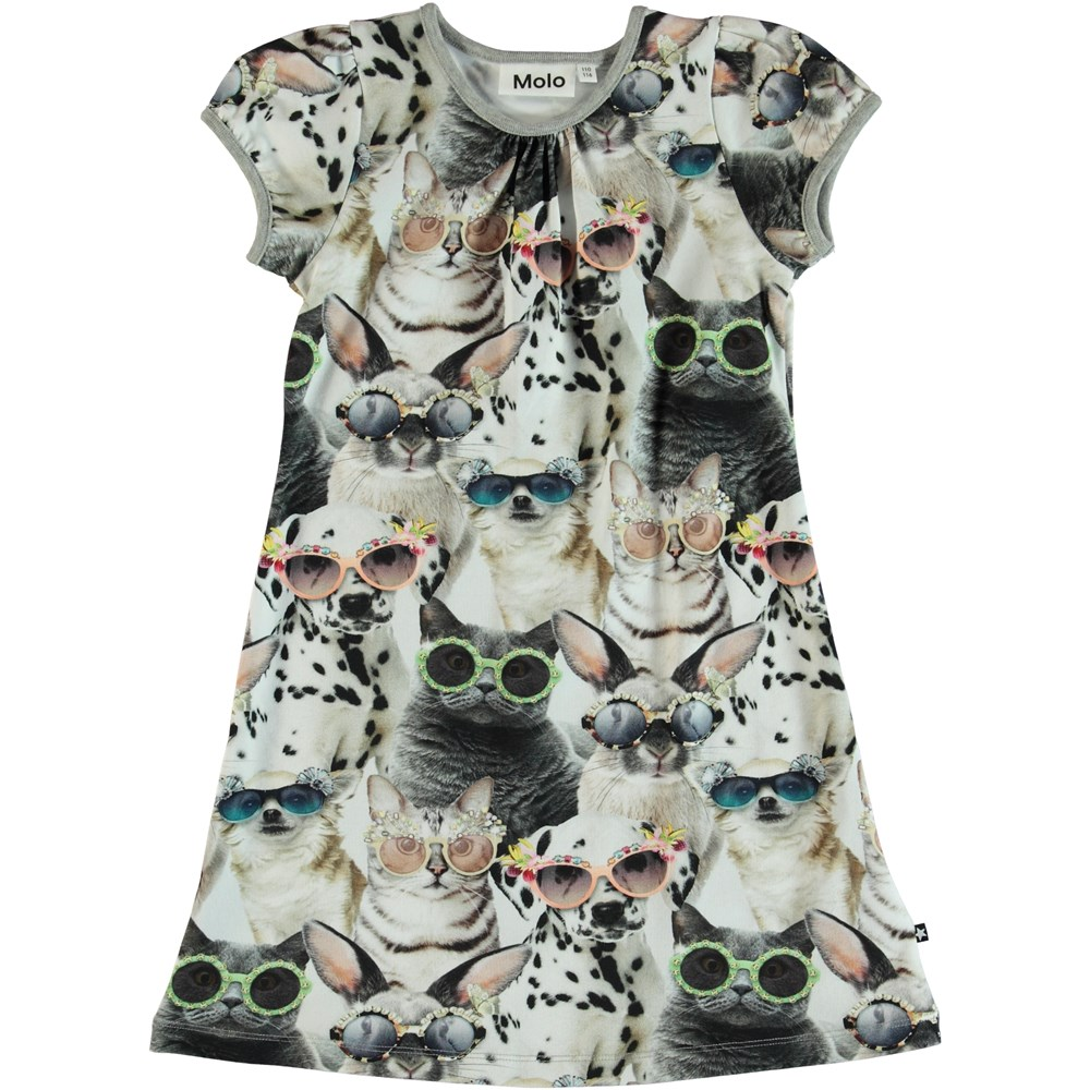 Camellia - Sunny Funny - Dress with puff sleeves and print.