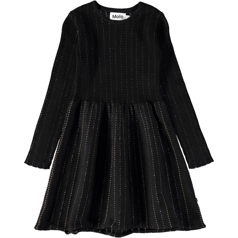 Cameron - Black - Long sleeve, black knit dress