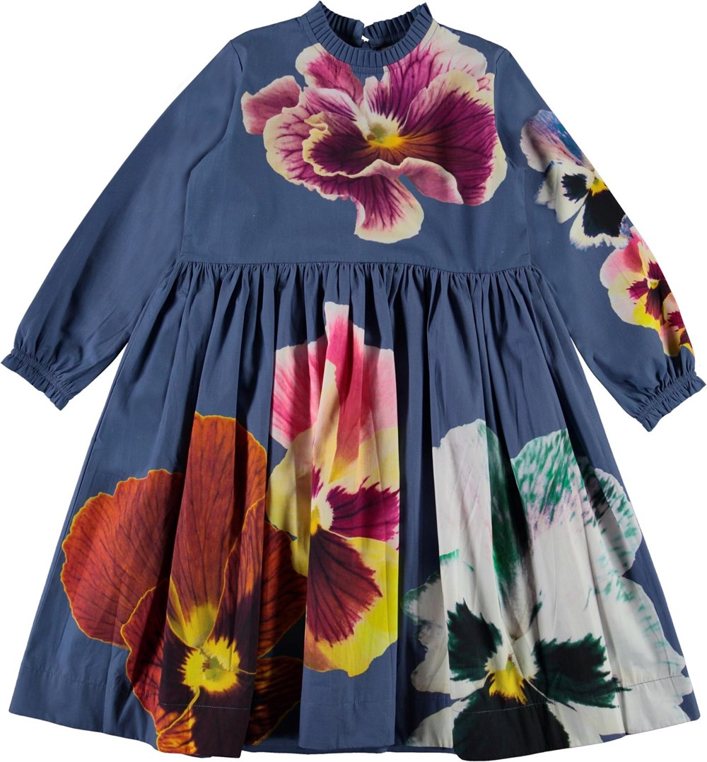 Cami - Blue Pansy - Blue organic dress with large flowers